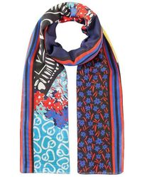 ESCADA Cotton Silk Printed Scarf - Blauw