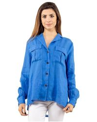 Bagutta Camicia in lino con tasche - Bleu