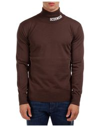 Gcds Polo neck turtleneck jumper sweater full logo - Marrone