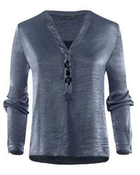 Airfield - Bl-512 Blouse Bloes Jeans Glanzend - Lyst