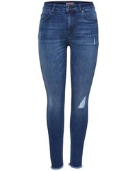 ONLY Skinny Jeans Blush Mid Ankle Raw - Blauw