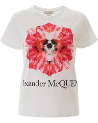 Alexander McQueen Skull Flower T Shirt - Naturel
