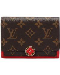 Louis Vuitton Tweedehands Monogram Flore Compact Portemonnee Canvas - Bruin