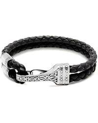 Nialaya Leather Bracelet With Silver Bali Clasp Lock - Zwart