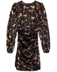 Ganni Silk Stretch Satin Mini Dress - Noir