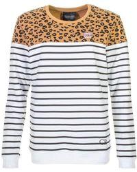 Colourful Rebel Striped Leopard Sweat /wit