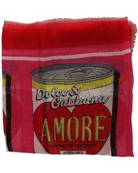 Dolce & Gabbana Amore Cashmere Silk Wrap Scarf - Rood
