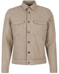 AJMONE Lamb Leather Jacket - Naturel