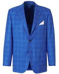 Kiton Cashmere And Silk Blazer - Blauw
