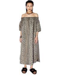 Zoe Karssen Olive Oversized Off-Shoulder Leopard Dress - Grau