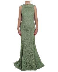 Dolce & Gabbana Floral Lace Sheath Maxi Dress - Groen