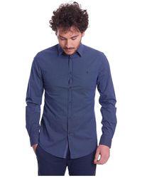 Trussardi Camicia A Fantasia Slim FIT - Blu