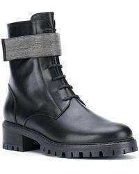 Naf Naf Bead embellished lace-up boots - Nero