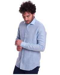 MASTRICAMICIAI Linen Shirt With Italian Collar - Blauw