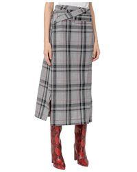 3.1 Phillip Lim Plaid Belted Skirt - Grigio