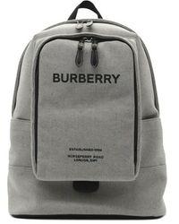 Burberry Large Logo Print Cotton Canvas Backpack - Grijs