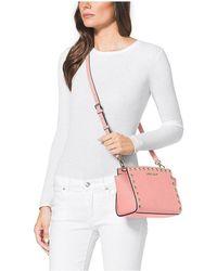 Michael Kors Selma Medium Studded Saffiano Leather Messenger bag Rosa