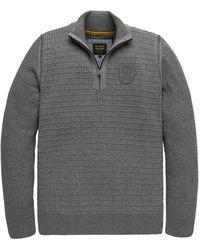 PME LEGEND Trui- Pme Half Zip Collar Cotton Plated - Grijs