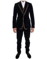 Dolce & Gabbana Velvet Two Button Slim 3-teiliger Anzug - Blau