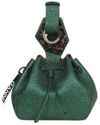 Ganni Small Drawstring Bag Foliage - Groen