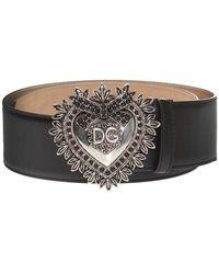 Dolce & Gabbana Belt With Decorative Buckle - Zwart