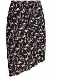 IRO Patterned Skirt With Gathers - Zwart