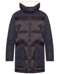Yves Salomon Down Jacket With Leather Insert - Blauw
