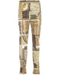 Versace Printed Leggings Pants - Blanc