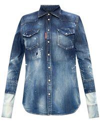 DSquared² Verontruste Denim Shirt - Blauw