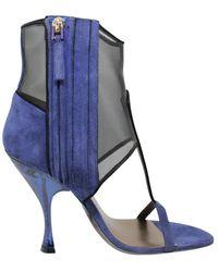 Giorgio Armani Suede Mesh Sandals - Blauw