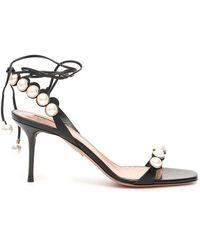 Aquazzura Mae 75 Sandals - Zwart