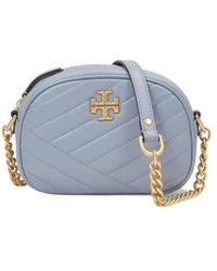Tory Burch Kira Chevron Small Camera Bag In Leather And Rolled Brass - Blauw