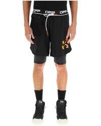 Off-White c/o Virgil Abloh Double Layer Active Shorts - Zwart