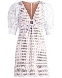 Michael Kors Geo Eyelet Mini Dress - Wit