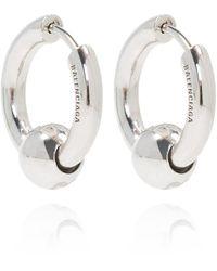 Balenciaga Earrings With Logo - Grijs