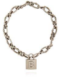Balenciaga Chain Necklace With Pendant - Grijs