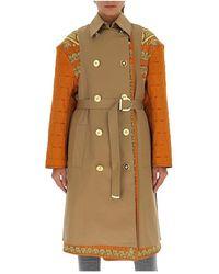 Versace Barokke Trenchcoat Met Gewatteerde Mouwen - Bruin