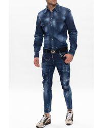 DSquared² - Tidy Biker Jean' raw-cut jeans Azul - Lyst