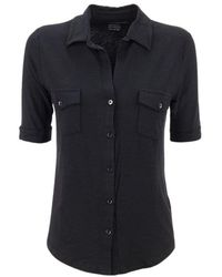 Majestic Filatures Shirt with elbow sleeves - Schwarz