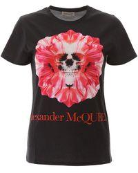 Alexander McQueen Skull Flower T Shirt - Grijs
