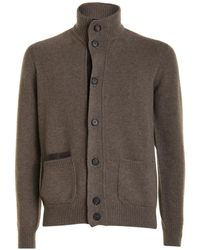 Brioni Pull with buttons and high collar - Braun