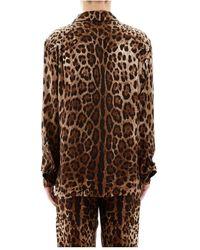 Dolce & Gabbana Camisa de pijama de leopardo Marrón
