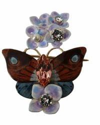 Dolce & Gabbana Plated Brass Crystal Butterfly Flower Brooch - Meerkleurig