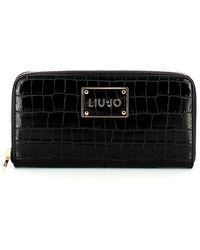 Liu Jo Large Zip Around Wallet With Coconut Effect - Zwart