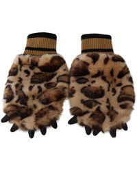 Dolce & Gabbana Leopard Paw Fur Knitted Elastic Wrist Gloves - Marron
