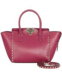 Valentino Tweedehands Rockstud Leren Tas - Roze