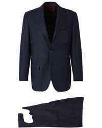Kiton Checked Suit - Blauw