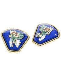 Hermès Emaille Oorbellen - Blauw