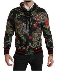 Dolce & Gabbana Leopard Bomber Hooded Mens Jacket - Zwart