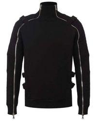 Balmain Turtleneck Zip Detailed Sweater - Nero